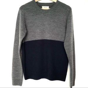 Frank & Oak Wool Color Block Waffle Knit Sweater